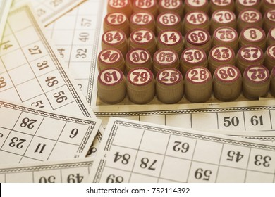 Balls with red bingo numbers, bingo cards. Lotto. Bingo. Added effect.