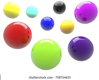 Balls in various colors.3d illustration.