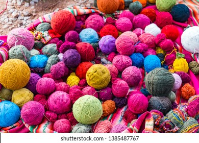 Balls of wool natural dyeing in a woven factory at Cusco, Peru