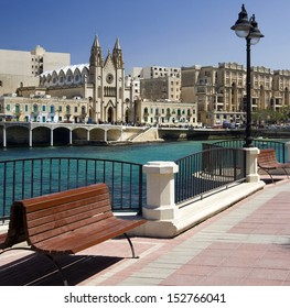 Balluta Bay in small coastal town of Sliema on the Mediterranean island of Malta.