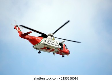 Ballybunion, county Kerry / Ireland-June 2nd 2015: irish coastguard rescue helicopter on search mission in the irish sky