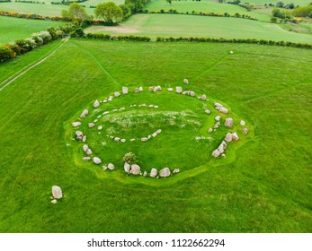 Ballynoe stone circle, a prehistoric Bronze Age burial mound surrounded by a circular structure of standing stones dating from the Neolithic period, County Down, Nothern Ireland