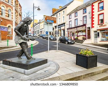 BALLYSHANNON / IRELAND - FEBRUARY 20 2019 : Ballyshannon is located at the southern end of the county Donegal and birth place of Rory Gallagher.