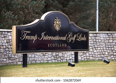 Balmedie, Aberdeenshire / Scotland, United Kingdom - April 4th 2018: Board of Trump International Golf Links Scotland in Aberdeenshire.