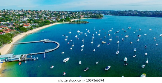 Balmoral Beach, Sydney. Beautiful aerial view of coastline.