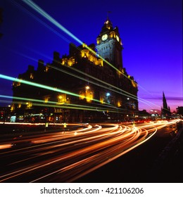 Balmoral-Hotel at Night, City of Edinburgh, Scotland, United Kingdom