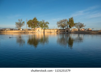 Balmorea State Park, Texas/USA - March 19 2018: The waters of this desert oasis reflect deep blue sky in the early morning.