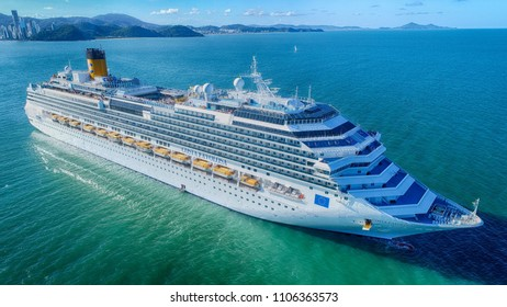 """Balneario Camboriu, Santa Catarina / Brazil - 02 06 2018: Cruise ship """"Costa Favolosa"""" at anchor"""