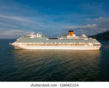 "Balneario Camboriu, Santa Catarina / Brazil - 12 14 2018: Cruise ship ""Costa Favolosa""'s port side"