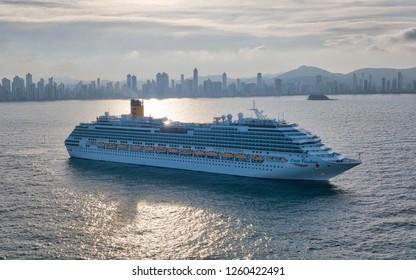 """Balneario Camboriu, Santa Catarina / Brazil - 12 14 2018: Cruise ship """"Costa Favolosa"""" at anchor"""