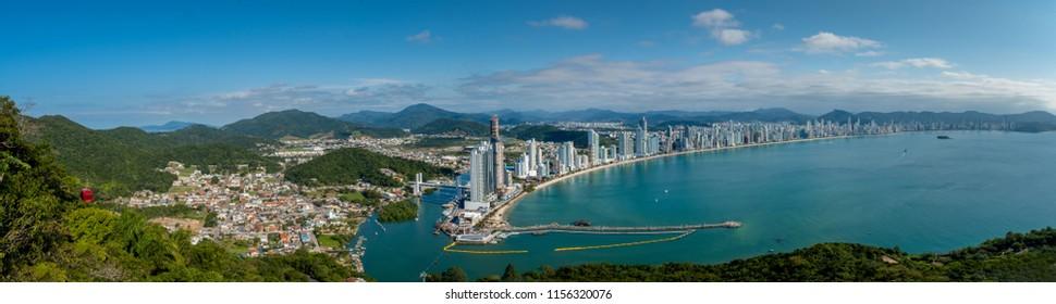 Balneario Camburiu, Brazil - Juny 24, 2018: Coast Line of Balneario Camburiu,Santa Catarina State, south of Brazil .