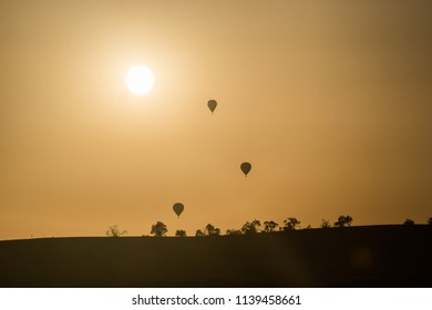 Baloons at sunset