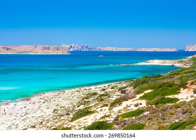 The Balos Bay, famous beach with azure water and pink sand.
