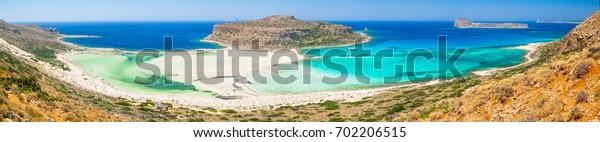 Balos Beach Bay panorama on Crete, Greece