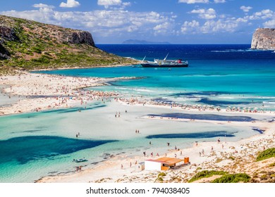 BALOS, CRETE - JULY 21:  People in the blue lagoon Balos on September 21, 2017 in Balos