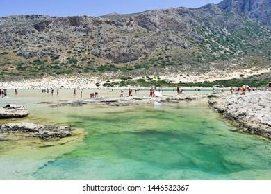 Balos, Greece - June 25, 2015: Balos beach near Gramvousa island in Crete. Magical turquoise waters, lagoons, Balos beach of pure white sand.