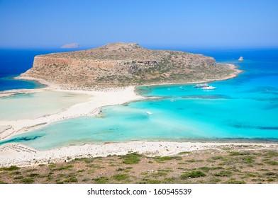 Balos Lagoon and Gramvousa island on Crete, Greece