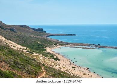 Balos lagoon and Gramvousa in Kissamos Crete, Greece in sunny day.