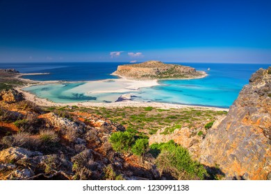Balos lagoon on Crete island with azure clear water, Greece, Europe. Crete is the largest and most populous of the Greek islands.