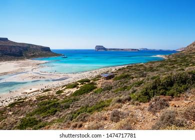 Balos lagoon on Crete island, Greece. Crystal clear water of Balos beach.