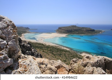 The Balos lagoon on the island of Crete in Greece. An incredibly beautiful place where three seas merge in one place