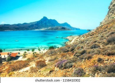Balos Lagoon Turquoise and Blue sea, view from the cliff of the island fort, Crete Island, Greece