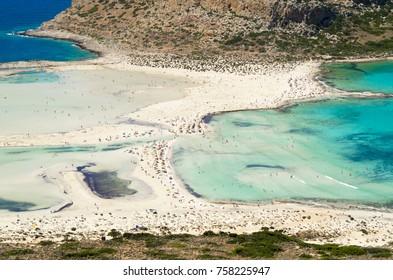 Balos sand beach in Crete, Greece. Beautiful blue lagoon.