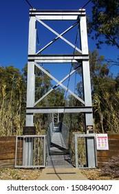 Balranald, New South Wales, Australia, September 2, 2019. Modern Swing Bridge over the Murrumbidgee River