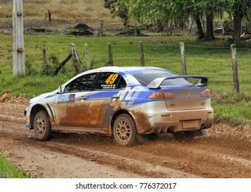 Balsa Nova, Brazil - September 30, 2017: View of a race car running at the Rally Sprint Balsa Nova, the fourth stage of the Paranaense Speed ??Rally Championship.
