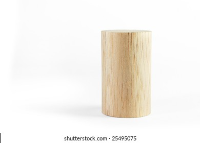 Balsa wood cylinder, on the white background