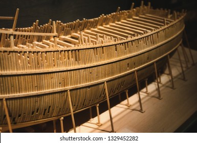 Balsa wood model boat in construction