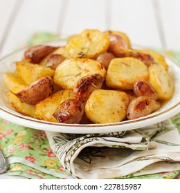 Balsamic Roast Potato with Unpeeled Garlic, Eschalot and Rosemary, square, copy space for your text