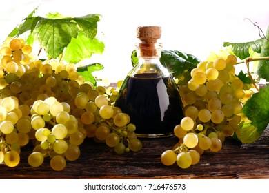 Balsamic vinegar of Modena with near white grapes