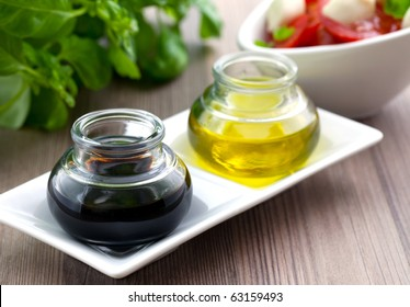 balsamic vinegar and olive oil in two glasses
