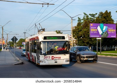 BALTI, MOLDOVA - September 11, 2021. Trolleybus BKM 321 #2013 riding with passengers in the streets of Balti.