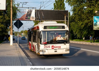 BALTI, MOLDOVA - September 11, 2021. Trolleybus BKM 321 #2020 riding with passengers in the streets of Balti.