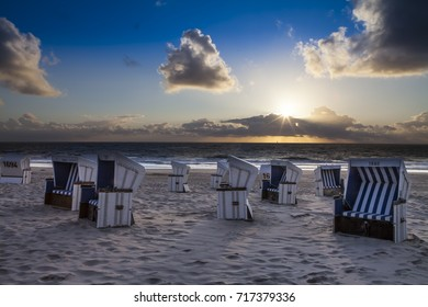 Baltic North Sea - German Iceland in East North Germany. New Sylt - New blue white beach chairs