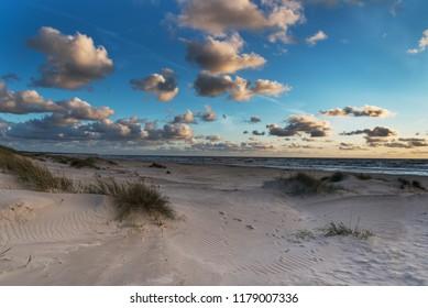 Baltic sea beach in evening, Liepaja, Latvia.
