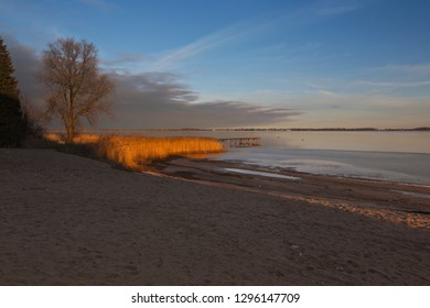 Baltic Sea Beach in Germany. Beach in Dranske on the Rügen Island. Autumn and Winter.