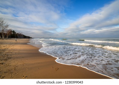 Baltic Sea beach in stormy weather, Poland
