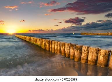 Baltic sea at beautiful sunrise
