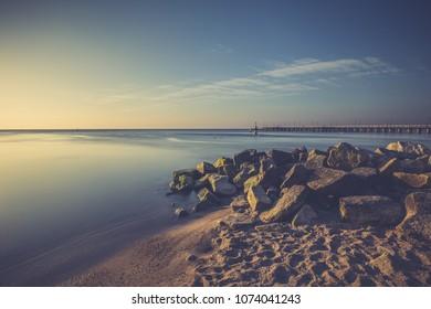 Baltic sea and Cliff of Orlowo at sunrise, Poland