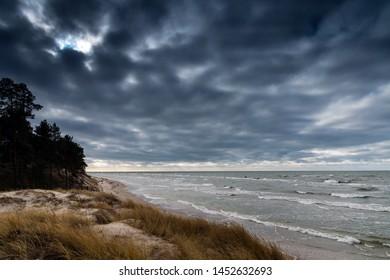 Baltic sea coast in cold day.