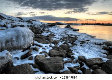Baltic sea coast in March