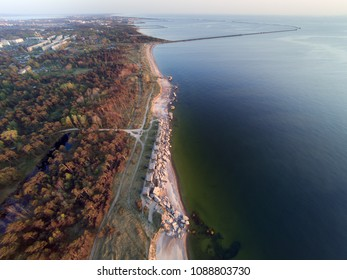 Baltic sea coast and old fortifications at Liepaja, Latvia.