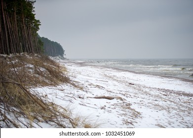 Baltic Sea Coastline-Seaside at winter in Karkle, Lithuania. The Baltic Sea is a sea of the Atlantic Ocean, enclosed by Scandinavia, Finland, the Baltic countries, and the North European Plain.