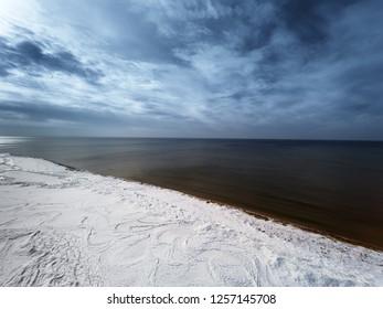 Baltic sea cost in winter, Bernati, Latvia.