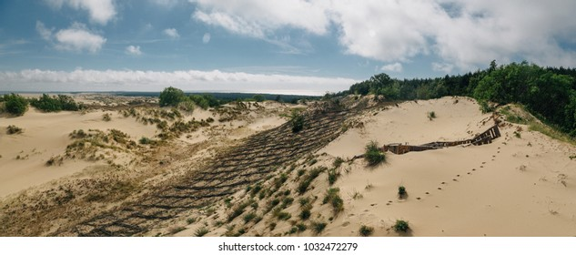 Baltic Sea Curonian Spit Sand-Dunes, UNESCO World Heritage Site. Constructions to prevent dunes movement