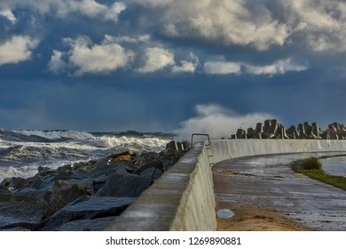 Baltic sea during the storm,  Wladyslawowo harbour, Poland