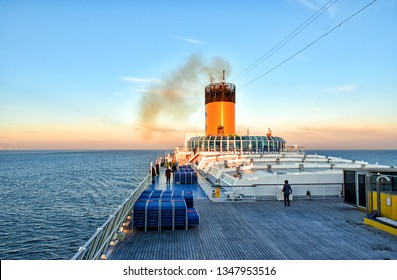 Baltic Sea, Germany - July 14, 2017: View over the outer deck of the cruise ship Costa Favolosa of the shipping company Costa Cruises during the voyage on the Baltic Sea in the evening.